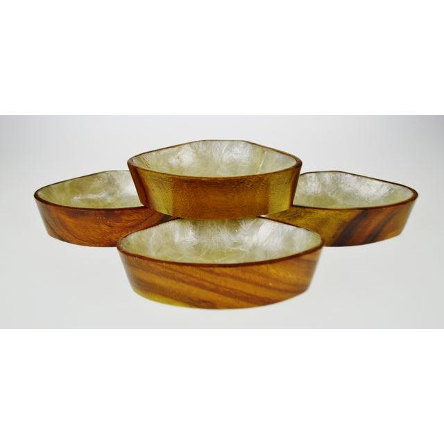 Image of Mid Century Monkey Pod Wood and Capiz Shell Snack Bowls