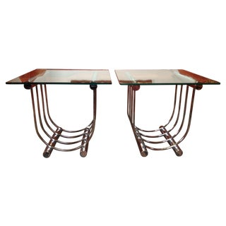 Deco Style Chrome & Glass End Tables - A Pair