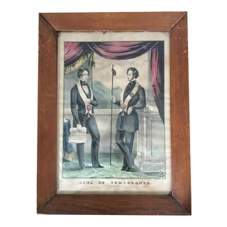 Antique Sons of Temperance N. Currier Lithograph