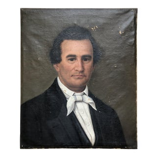 19th Century American Portrait Oil on Canvas Painting