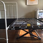 Image of White Iron Twin Bed Frame With Pop-Up Trundle