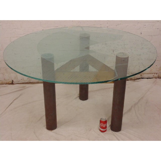 1986 Modernage Miami Postmodern Glass & Brass Geometric Dining Table - Image 6 of 6