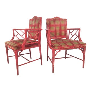 Red Faux Bamboo Chippendale Dining Arm Chairs - A Pair