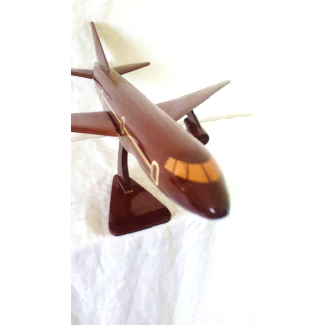 Image of Mid Century Italian Jet Plane Model, Mahogany Wood