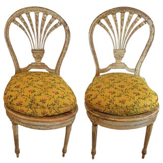 Louis XVI Style Painted Side Chairs - A Pair