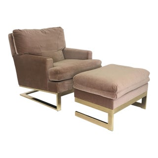Carsons Brass Framed Lounge Chair & Ottoman