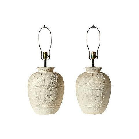 Image of 1970s White Textured Barrel Lamps - A Pair