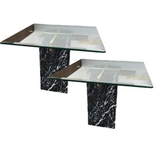 Artedi Nero Marquina Marble Side Tables - A Pair