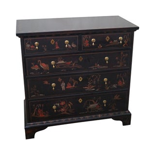 Sherrill Occasional Hand Painted Black Chinoiserie Chest of Drawers