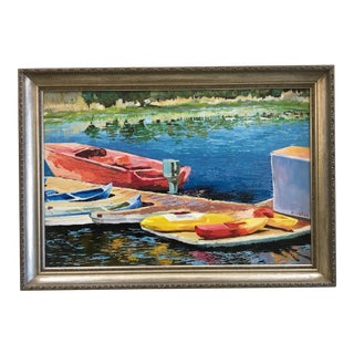 Lake Dock & Boats Acrylic Painting