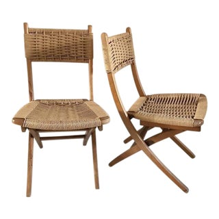 Mid-Century Yugoslavia Folding Rope Chairs - A Pair