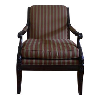 Traditional Henredon Stripe Upholstered Arm Chair