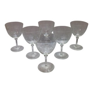 "Cut Crystal ""Roses"" Wide Bowl Wine Glasses - Set of 6"