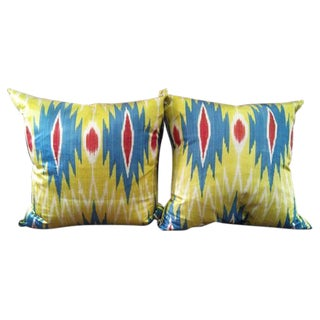 Decorative Ikat Fabric Throw Pillows - A Pair