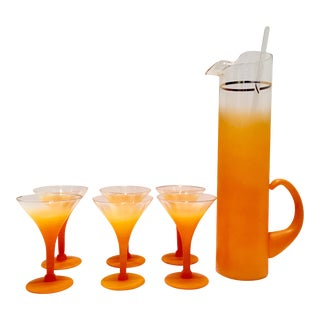 Vintage Orange Frosted & 22 Karat Gold Drink Set - Set of 8