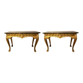 George II Style Carved Giltwood Marble Top Console Tables - A Pair