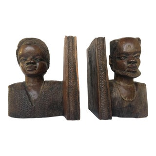 African American Folk Art Bookends - a Pair