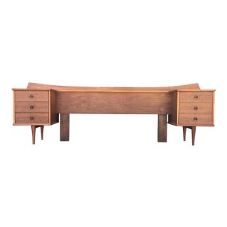 American Of Martinsville Mid-Century Headboard With Built-In Nightstands