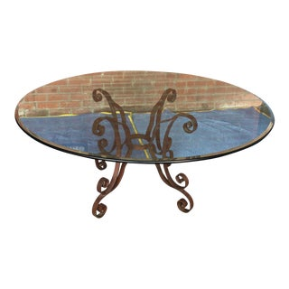 Iron Base Glass Dining Table