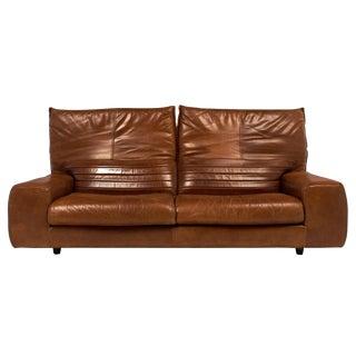 Vintage Italian Foldable Back Leather Sofa
