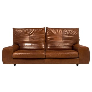 Vintage Italian Foldable Back Leather Sofa