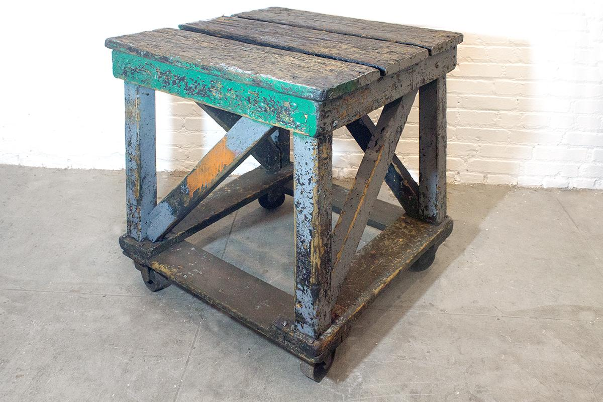 Superb 1920u0027s Rolling Wood Factory Table   Image 3 ...