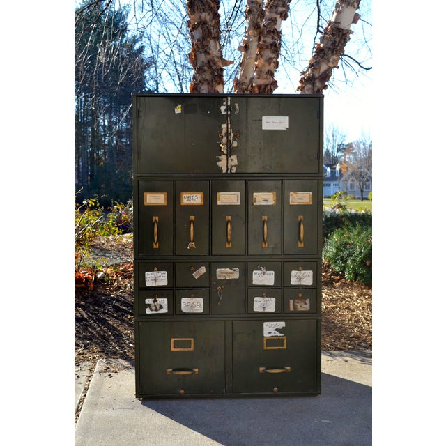 Vintage Industrial Green Metal Two Door Cabinet - Image 7 of 9