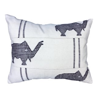 African Mud Cloth Pillow W/ Embroidered Elephants