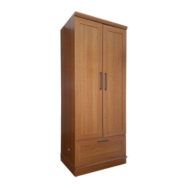 Sienna oak finish wardrobe armoire chairish for Wardrobe finishes