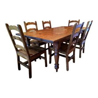 Vintage Farm Table & 6 Chairs