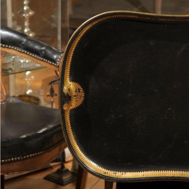 Vintage Regency English Black & Gilt Tole Tray - Image 4 of 6