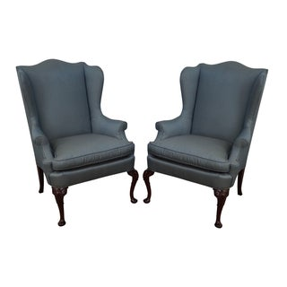Hickory Mahogany Queen Anne Wing Chairs - Pair