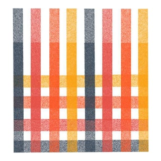Blue Red Orange & Gold Grid Soft Geometry Print by Jessica Poundstone