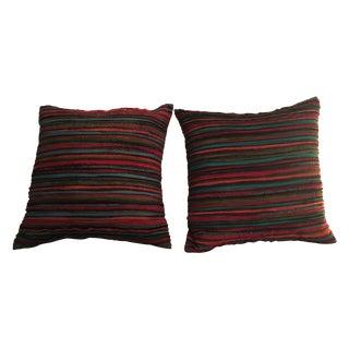 Striped Square Pillows - A Pair