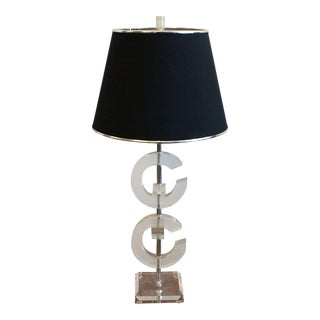 "Vintage Interlocking Lucite ""C's"" Table Lamp"