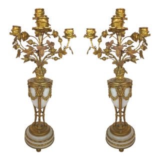 Antique Dore Bronze Candelabra - A Pair