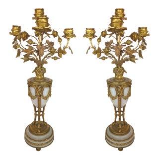 Antique Dore Bronze Candelabra - A Pair