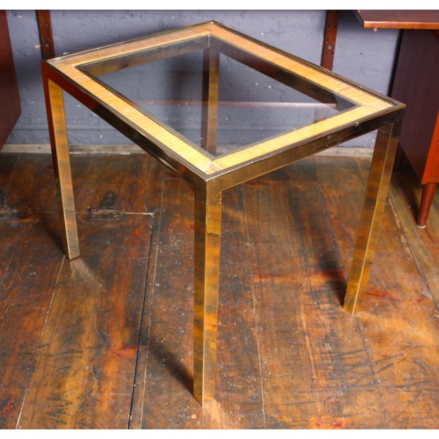 1970s Rattan and Brass Side Tables After Crespi - Image 3 of 8