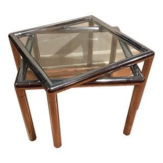 Vintage Chrome & Glass Tables - A Pair