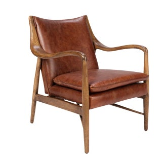 Wood and Leather Club Chair