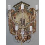 Image of Pair of Hand-Painted Chinoiserie Five-Light Sconces