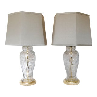 Cut Glass Lamps With Shades - A Pair