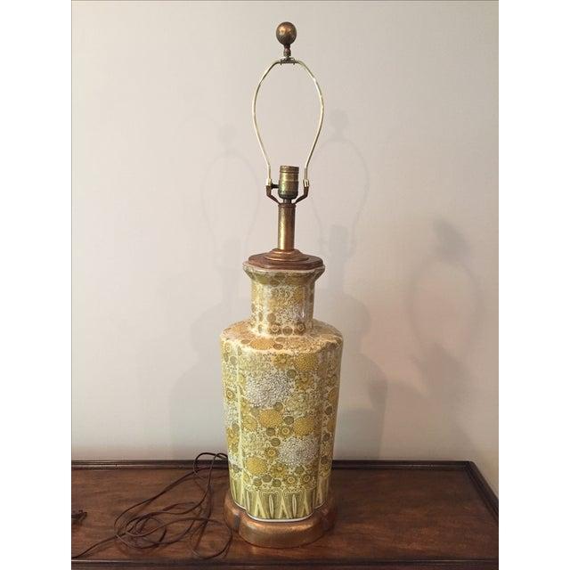 Vintage Yellow Champange Floral Lamp - Image 2 of 7
