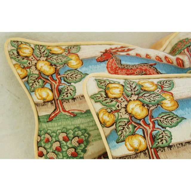 Designer Brunschwig & Fils Medieval Pillows - Pair - Image 4 of 8