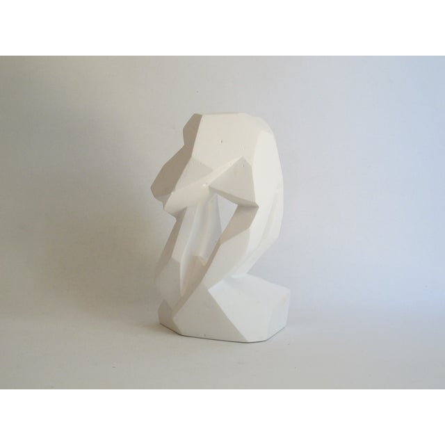 Abstract Cubist White Plaster Statue - Image 3 of 11