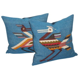Pair of Mexican Indian Weaving Road Runner Pillows