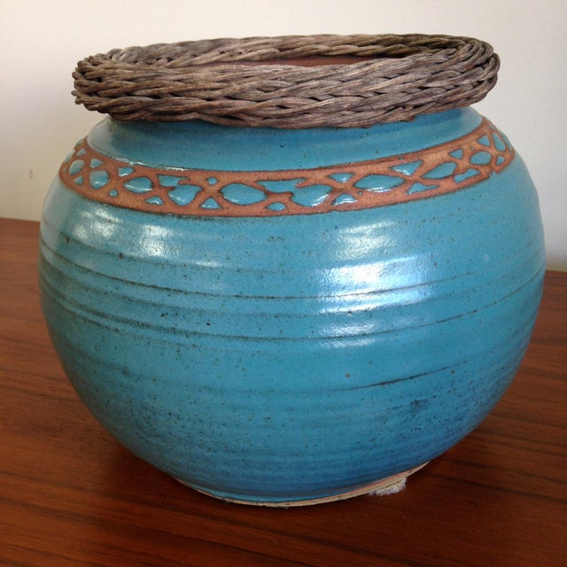 Weaved Wood And Teal Ceramic Vessel - Image 7 of 7