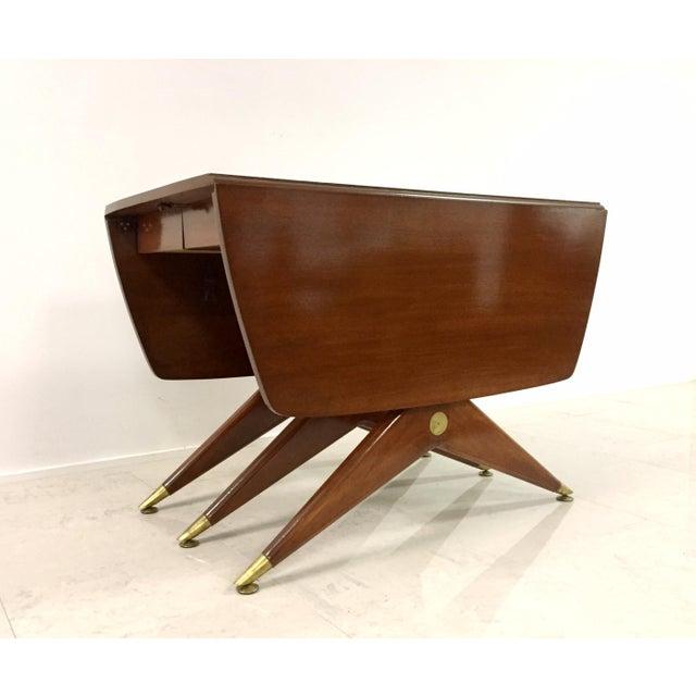 Gio Ponti Attr. Brass & Walnut Dining Table - Image 5 of 11