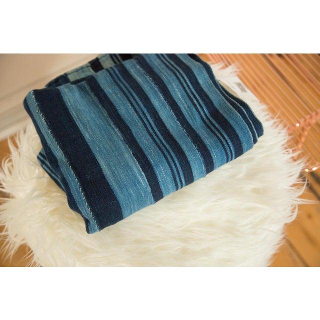Striped Indigo African Textile Throw - Image 2 of 3