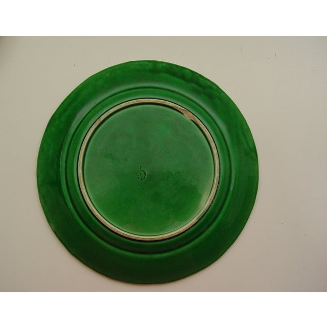 Image of Antique English Majolica Plate With Grape Leaf